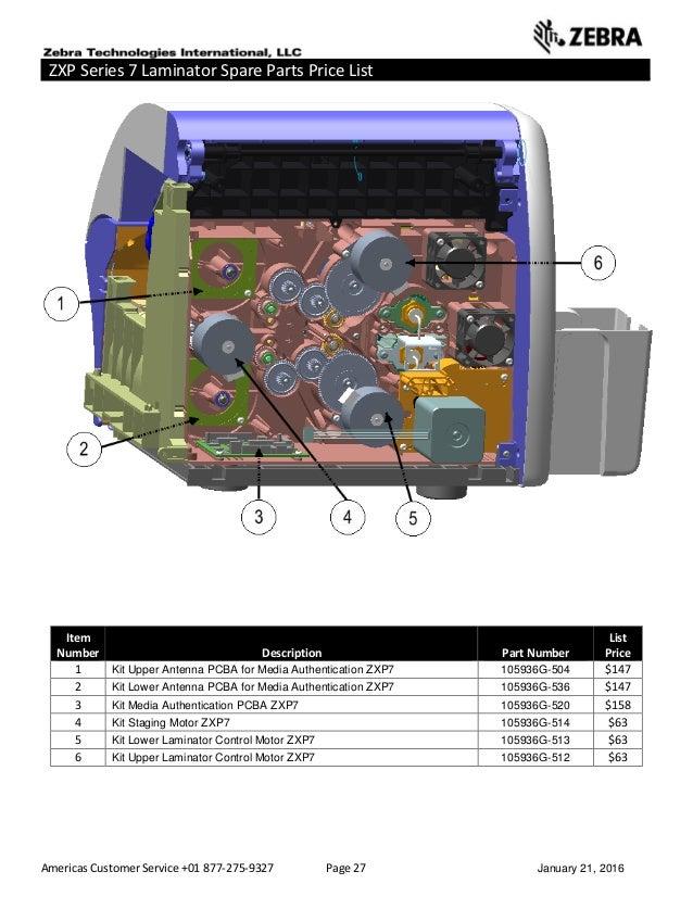 Americas Customer Service +01 877-275-9327 Page 27 January 21, 2016 ZXP Series 7 Laminator Spare Parts Price List ______ _...