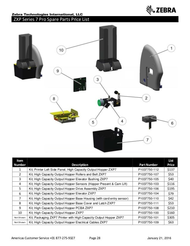 Americas Customer Service +01 877-275-9327 Page 28 January 21, 2016 ZXP Series 7 Pro Spare Parts Price List __________ ___...