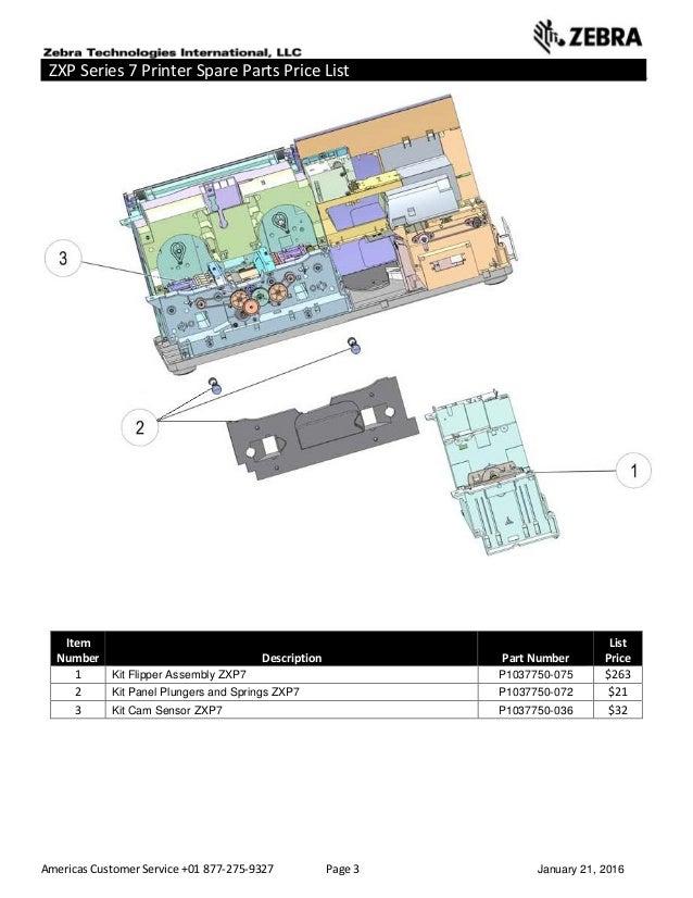 Americas Customer Service +01 877-275-9327 Page 3 January 21, 2016 ZXP Series 7 Printer Spare Parts Price List _____ _____...