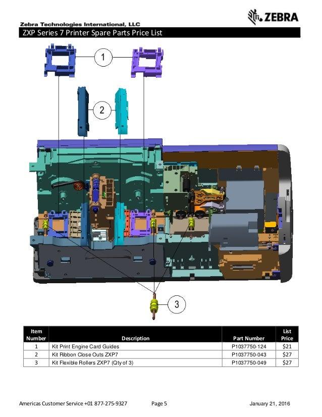 Americas Customer Service +01 877-275-9327 Page 5 January 21, 2016 ZXP Series 7 Printer Spare Parts Price List _____ _____...