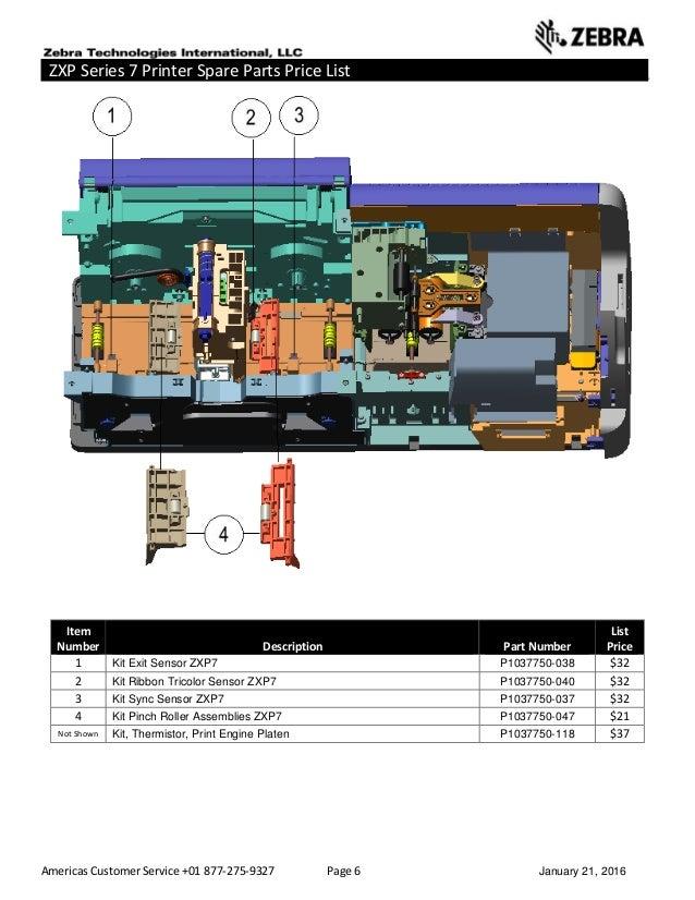 Americas Customer Service +01 877-275-9327 Page 6 January 21, 2016 ZXP Series 7 Printer Spare Parts Price List _____ _____...