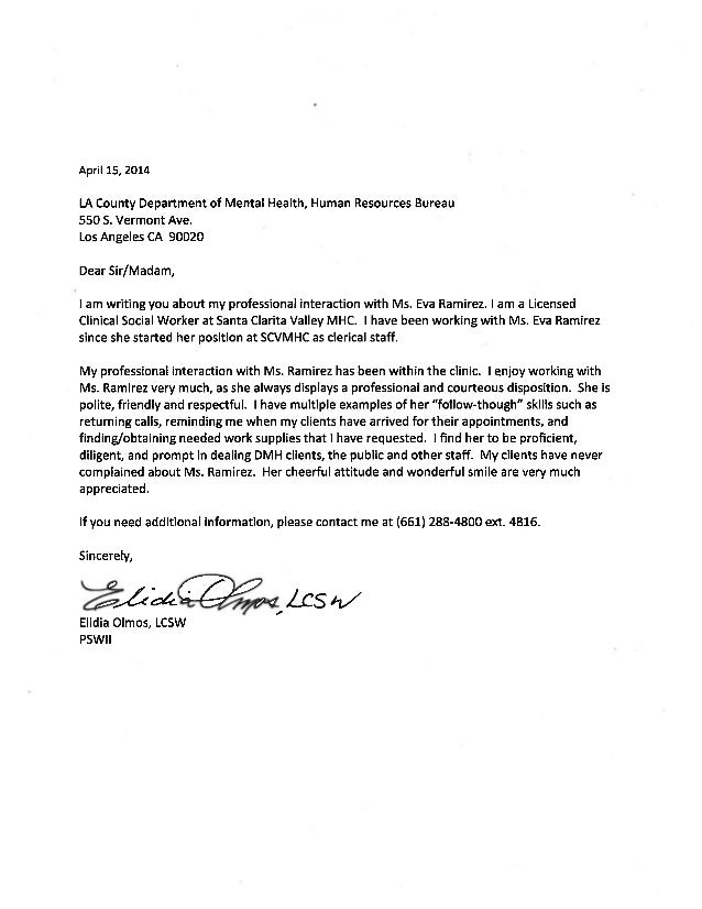 Letter Of Recommendation Elidia Olmos