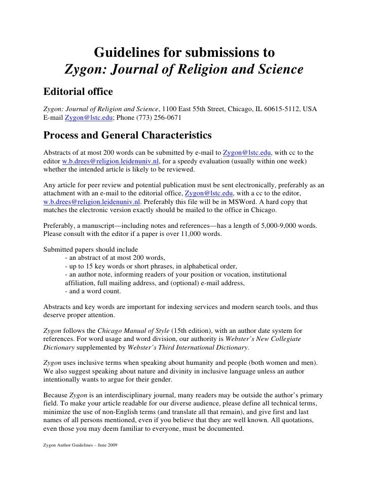 Guidelines for submissions to           Zygon: Journal of Religion and Science Editorial office Zygon: Journal of Religion...