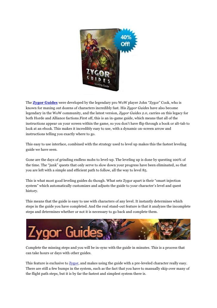 Zygor WoW Guide Fast Leveling in WoW