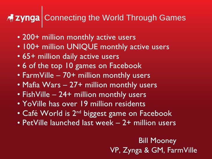 Connecting the World Through Games <ul><li>200+ million monthly active users </li></ul><ul><li>100+ million UNIQUE monthly...