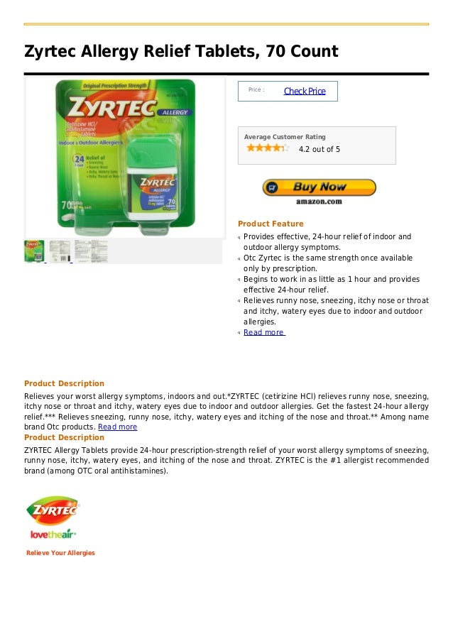 Zyrtec Allergy Relief Tablets, 70 Count                                                                Price :            ...