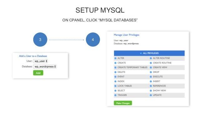 """SETUP MYSQL ON CPANEL, CLICK """"MYSQL DATABASES"""" 3 4"""