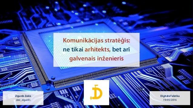 @zz_zigurds Komunikācijas stratēģis: ne tikai arhitekts, bet arī  galvenais inženieris Zigurds Zakis @zz_zigurds Digitā...