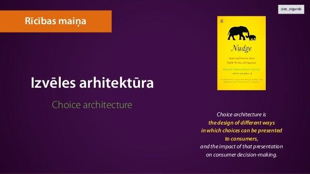 @zz_zigurds Izvēles arhitektūra Choice architecture Rīcības maiņa Choice architecture is  the design of different ways  i...