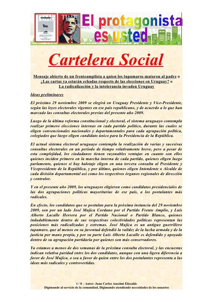 Cartelera Social  Mensaje abierto de un frenteamplista a quien los tupamaros mataron al padre o     ¿Las cartas ya estarán...