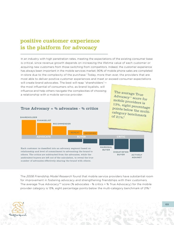positive customer experience is the platform for advocacy In an industry with high penetration rates, meeting the expectat...