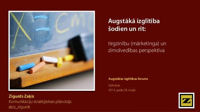 Augstākā izglītība  šodien un rīt:  tirgzinību (mārketinga) un  zīmolvedības perspektīva  Zigurds Zaķis  Komunikāciju stra...