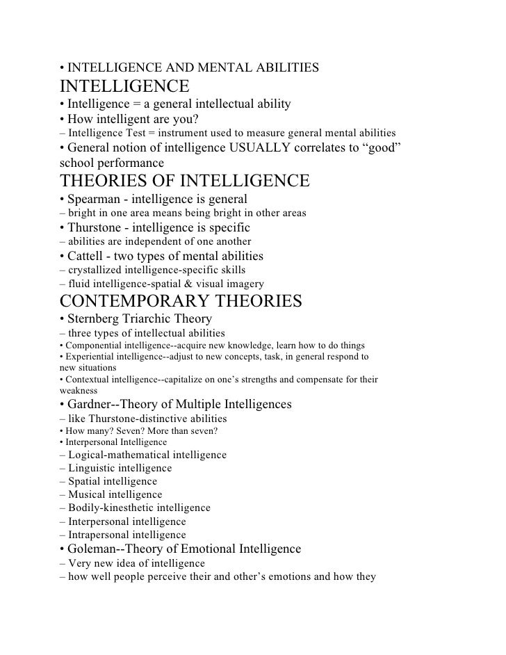 • INTELLIGENCE AND MENTAL ABILITIES INTELLIGENCE • Intelligence = a general intellectual ability • How intelligent are you...