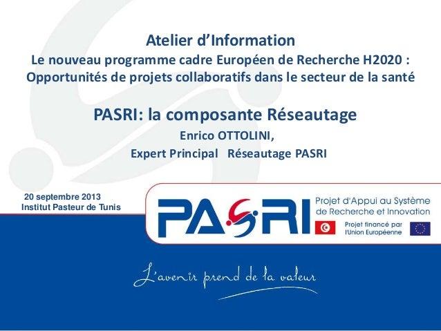 PASRI: la composante Réseautage Enrico OTTOLINI, Expert Principal Réseautage PASRI 20 septembre 2013 Institut Pasteur de T...