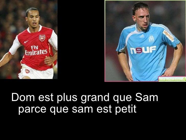 <ul><li>Dom est plus grand que Sam parce que sam est petit </li></ul>